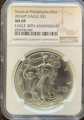 2016(P) American Silver Eagle Ngc Ms69