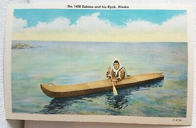 Eskimo and his Kyak Kayak Alaska Inuit Antique Vintage Post Card Excellent