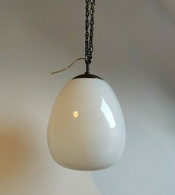 Large Vintage Opaline Ovaloid Ceiling Light with Original Brass Gallery