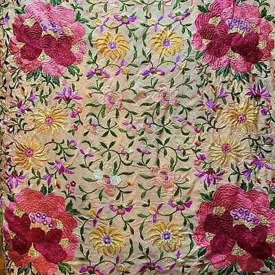 Antique Floral Peach Silk Heavily Embroidered Piano Shawl Colorful Fringe