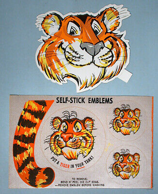 1960s ESSO Oil Gas Station Giveaways Put a Tiger In Your Tank 2 Unused Decals