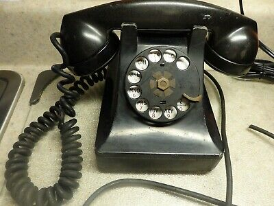 Vtg Telephone Bell System F1 Made By Western Electric Black Rotary Dial Hardwire