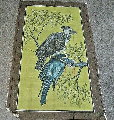 As Seenvintage    Frameless  Picture  On Material Exotic Birds   118H X 72 Cm W