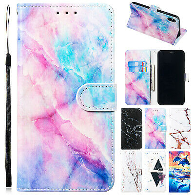 For iPhone 6 5s 8 Plus 7 XS Max XR Case Pattern Magnetic Flip Leather Slot Cover