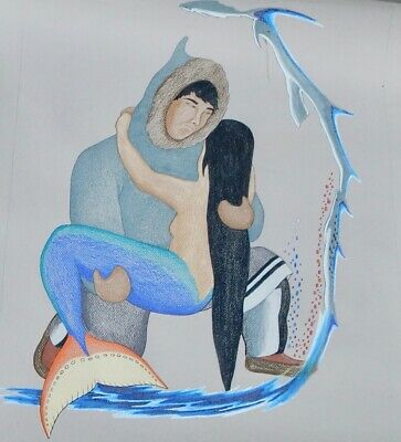 Inuit Art Lithograph Aquatint by TIM PITSIUAK, RESCUING TALILSUUUQ ~26x36,