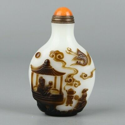 Chinese Exquisite Handmade landscape people Glass snuff bottle
