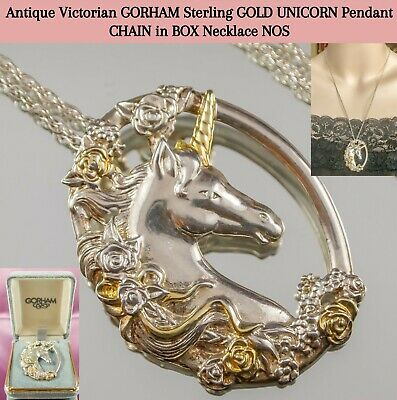 Antique Victorian GORHAM Sterling GOLD UNICORN Pendant CHAIN in BOX Necklace NOS