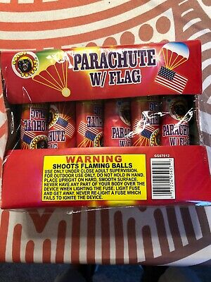 Parachute Firework With Flag Firework Label.