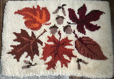 Vintage Latch Hook Rug -Autumn/Leaves