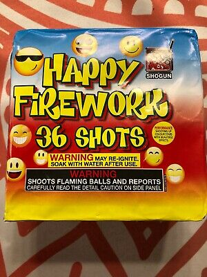 Happy Fireworks 36 Shot Firework Label.