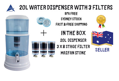 8 Stage Water Filter Ceramic Carbon Aimex Water Bench top Dispenser Purifier 20L