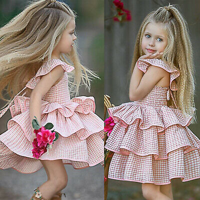 Toddler Kids Baby Girls Tiered Princess Dress Party Wedding Ruffled Dress Summer