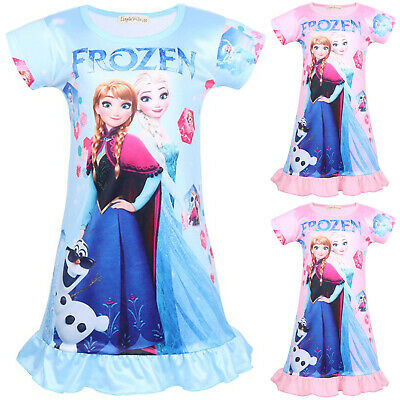 Frozen Girls Kids Baby Elsa Anna Princess Dress Sundress Nightie Nightdress Pjs