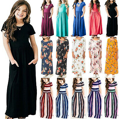Children Girls Boho Floral Long Maxi Dress Summer Casual Holiday Party Sundress