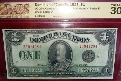 Dominion Of Canada 1923 $1 Large Banknote With King George  Portrait