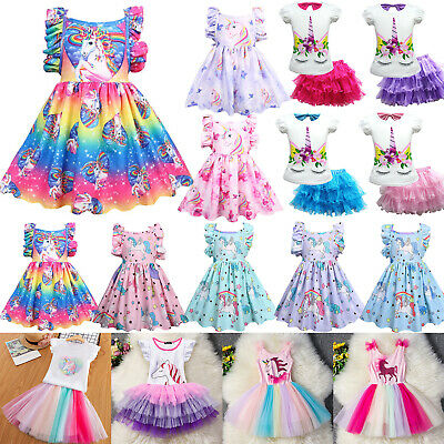 Girls Kids Baby Unicorn Party Tulle Tutu Dress Princess Summer Holiday Clothes