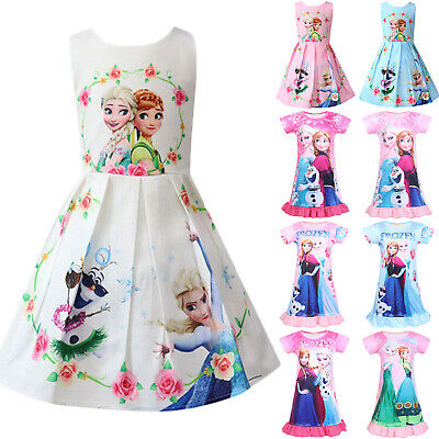 Frozen Girls Sleeveless Party Princess Dress A-Line Dress Sleepwear Nightdress