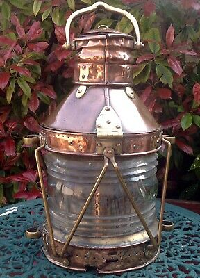 """Antique Victorian Large Copper And Brass Ships Lamp Height 20"""" (50cm)"""