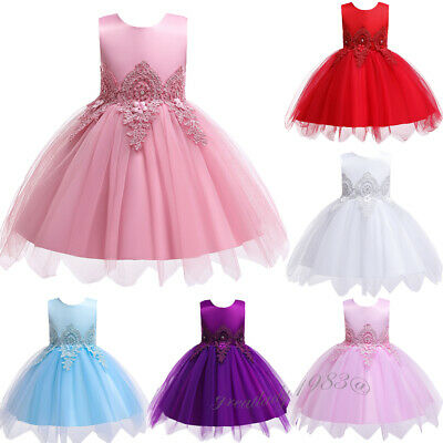 Toddler Kids Flower Girl Bow Dress Bridesmaid Tulle Tutu Party Dresses Clubwear