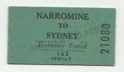 SRA NSW Railway Ticket- Narromine to Sydney economy - In great condition
