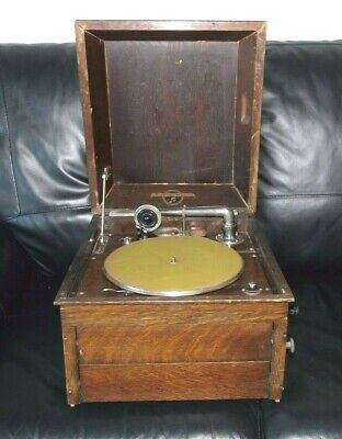 Columbia 117 Grafanola Vintage 1920s Gramophone Record Player Wooden Wind up