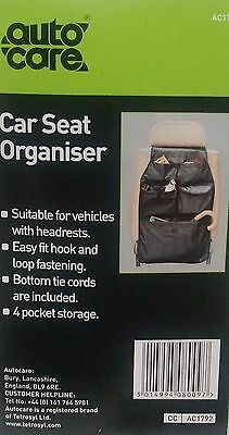 Autocare 4 Pocket Car Seat Organiser - AC1792