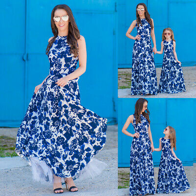 CA Mommy and Me Family Matching Dress Mother Daughter Floral Holiday Maxi Dress