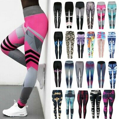 Womens Yoga Pants Leggings Sports Running Gym Athletic Fitness Stretch Trousers