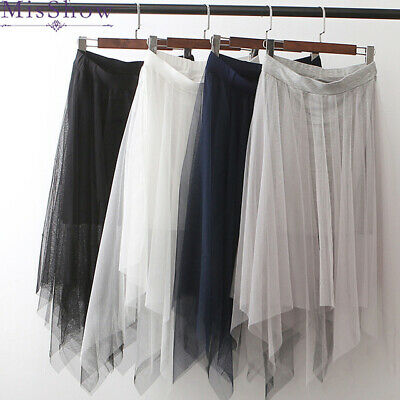Women Fashion Elastic High Waist mesh Tutu Skirt White Black long skirts