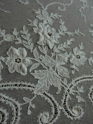 antique Tambour lace curtain or wedding veil Edwardian Art Nouveau