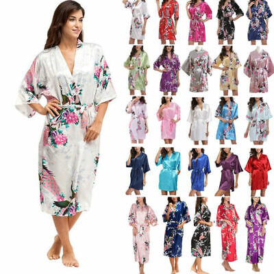Womens Satin Robe Bathrobe Wedding Bridesmaid Bridal Kimono Sleepwear Nightwear