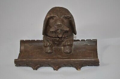 Antique Wooden Carved Dog Glass insert Ink Well