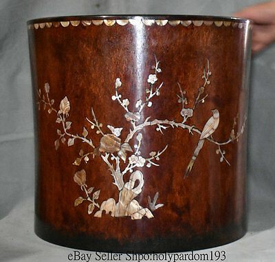 "16.8""Old Chinese Huanghuali Wood inlay Shell Handwork Brush Pot Pencil Vase Deco"