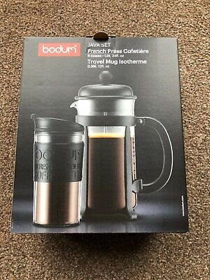 Bodum French Press 8 Cup Cafetiere and Isotherme Travel Mug Java Set