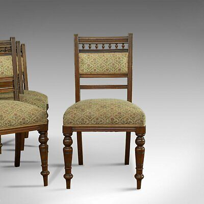 Antique Set of Four Dining Chairs, Edwardian, Mahogany, Upholstered, Circa 1910