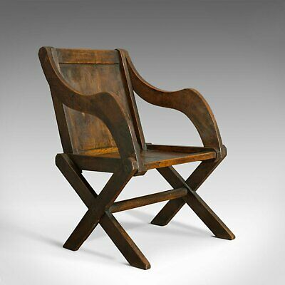 Antique Glastonbury Chair, English, Oak, Elbow, Gothic Overtones, Circa 1900