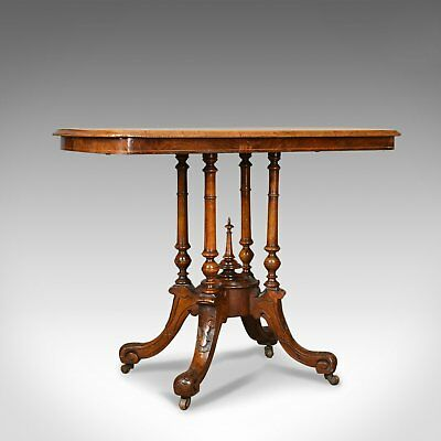 Antique Side Table, English, Victorian, Lamp, Burr Walnut, Circa 1870