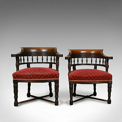 Pair of Antique Salon Chairs, English, Late Victorian, His and Hers, Circa 1900
