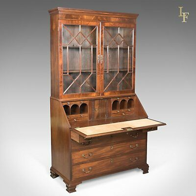 Antique Bureau Bookcase, English, Late Georgian, Mahogany, Writing Desk c.1800