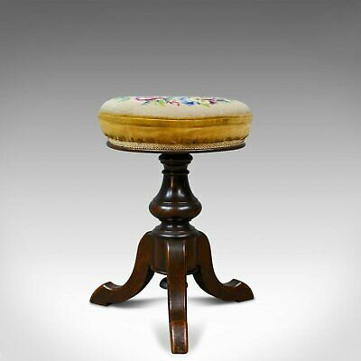 Adjustable Antique Piano Stool, English, Victorian, Walnut, Music, Circa 1880