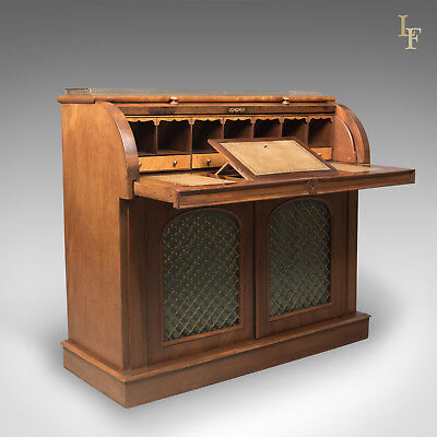 Antique Cylinder Bureau Writing Desk, Victorian, English, Mahogany c.1850