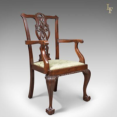 Antique Carver Chair, Victorian Chippendale Revival, c.1890