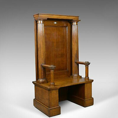 Large Antique Oak Throne Chair, Edwardian, Bench, Seat, Classical, Doric, c.1910