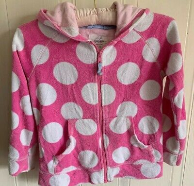 Mini Boden Girls Pink Polka Dot Towelling Hoodie Age 7-8 Ideal After Swimming