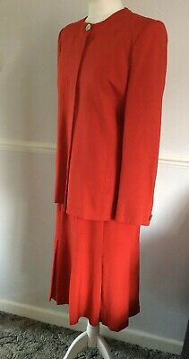 VINTAGE CHRISTIAN DIOR (the Suit) RED LONG LINE JACKET WITH MATCHING SKIRT 12/14