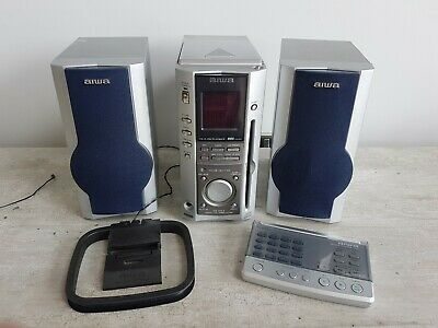Aiwa XR-MS3 Micro Cassette AM/FM Radio CD Stereo System and SX-MS7 Speakers