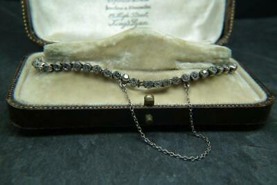 Fine Quality Antique Art Deco Solid Silver & Super Sparkly Paste Tennis Bracelet