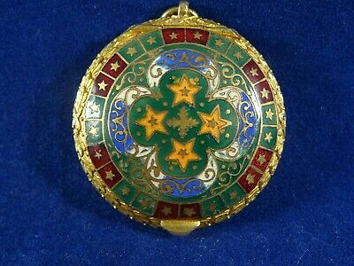 Beautiful Enamelled Pendant Patch/Rouge/Trinket or Pill Pot with Mirror Inside.