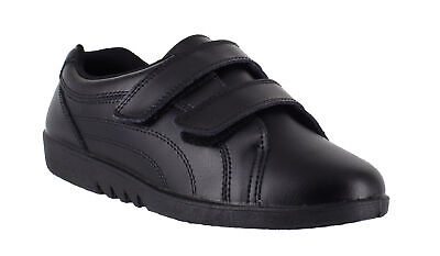 Ladies Black Leather Touch-Strap Comfort Work Nurse Casual Shoes Sizes 3 & 4