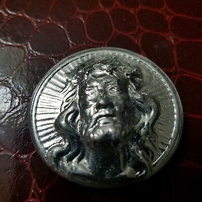 2.00 ozt hand poured .999 silver jesus coin Round. No patina
